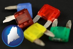 maine map icon and colorful automobile fuses