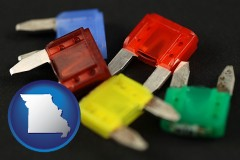 missouri map icon and colorful automobile fuses