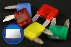 north-dakota map icon and colorful automobile fuses