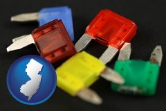new-jersey map icon and colorful automobile fuses