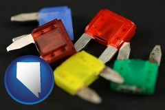 nevada map icon and colorful automobile fuses