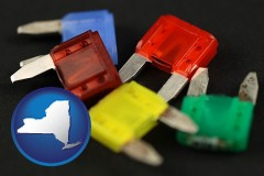 new-york map icon and colorful automobile fuses