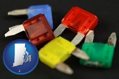 rhode-island map icon and colorful automobile fuses