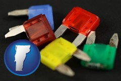 vermont map icon and colorful automobile fuses