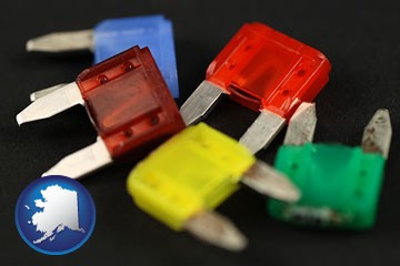 colorful automobile fuses - with Alaska icon