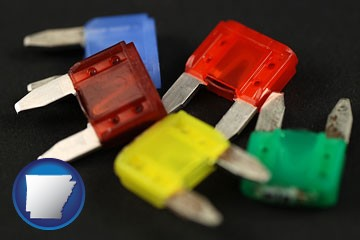 colorful automobile fuses - with Arkansas icon