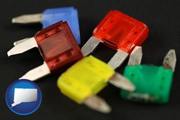colorful automobile fuses - with Connecticut icon