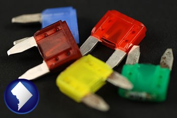 colorful automobile fuses - with Washington, DC icon