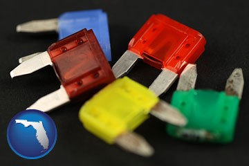 colorful automobile fuses - with Florida icon
