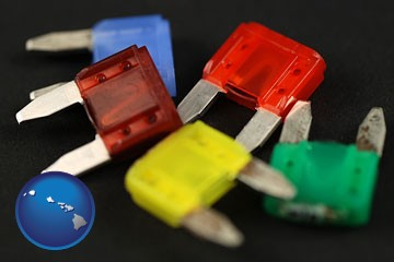 colorful automobile fuses - with Hawaii icon