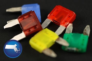 colorful automobile fuses - with Massachusetts icon