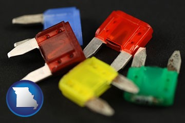 colorful automobile fuses - with Missouri icon
