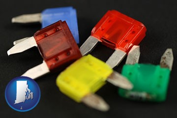 colorful automobile fuses - with Rhode Island icon