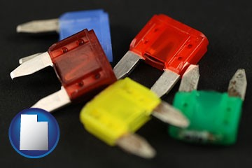 colorful automobile fuses - with Utah icon