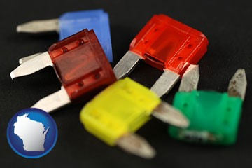 colorful automobile fuses - with Wisconsin icon