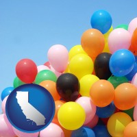 california map icon and colorful balloons