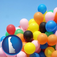 delaware map icon and colorful balloons
