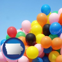 iowa map icon and colorful balloons