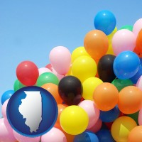 illinois map icon and colorful balloons