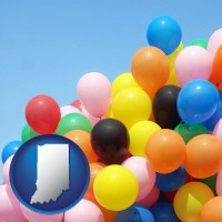 indiana map icon and colorful balloons