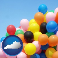 kentucky map icon and colorful balloons