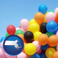 massachusetts map icon and colorful balloons
