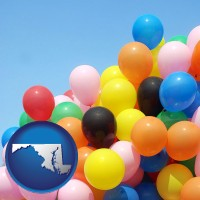 maryland map icon and colorful balloons