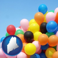 maine map icon and colorful balloons