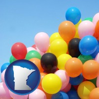 minnesota map icon and colorful balloons