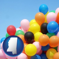 mississippi map icon and colorful balloons