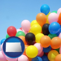 north-dakota map icon and colorful balloons
