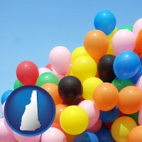 new-hampshire map icon and colorful balloons