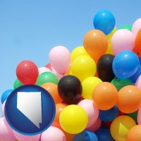 nevada map icon and colorful balloons
