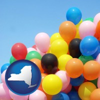 new-york map icon and colorful balloons