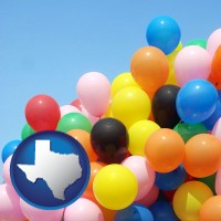 texas map icon and colorful balloons