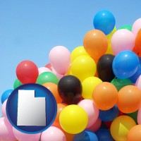 utah map icon and colorful balloons