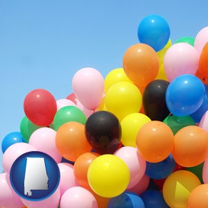 colorful balloons - with Alabama icon