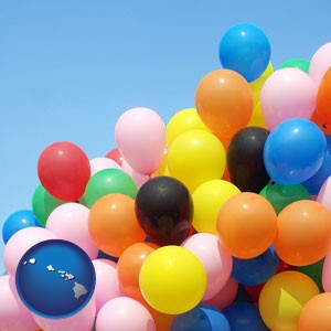 colorful balloons - with Hawaii icon