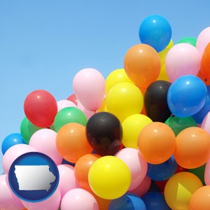 colorful balloons - with Iowa icon