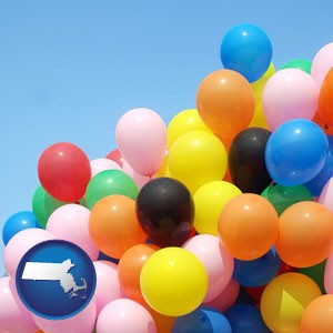 colorful balloons - with Massachusetts icon