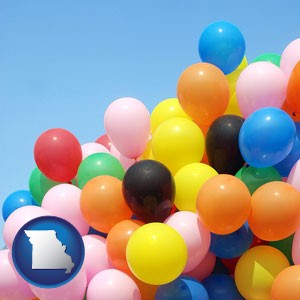 colorful balloons - with Missouri icon