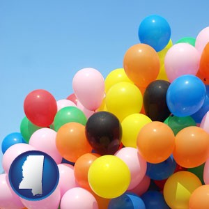 colorful balloons - with Mississippi icon