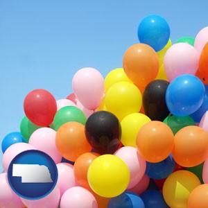 colorful balloons - with Nebraska icon