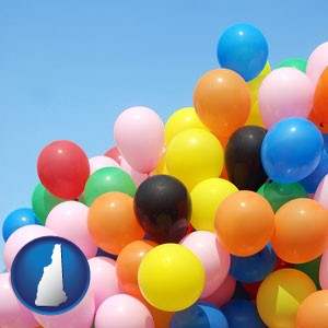 colorful balloons - with New Hampshire icon