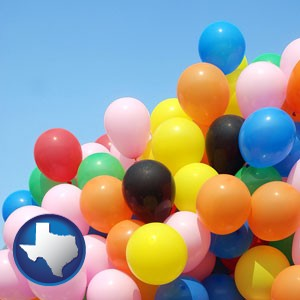 colorful balloons - with Texas icon