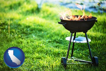 a round barbecue grill - with California icon