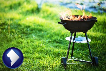 a round barbecue grill - with Washington, DC icon