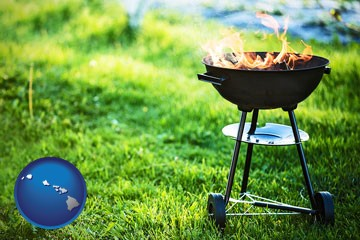 a round barbecue grill - with Hawaii icon