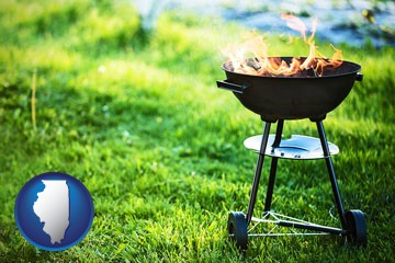 a round barbecue grill - with Illinois icon