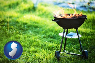 a round barbecue grill - with New Jersey icon